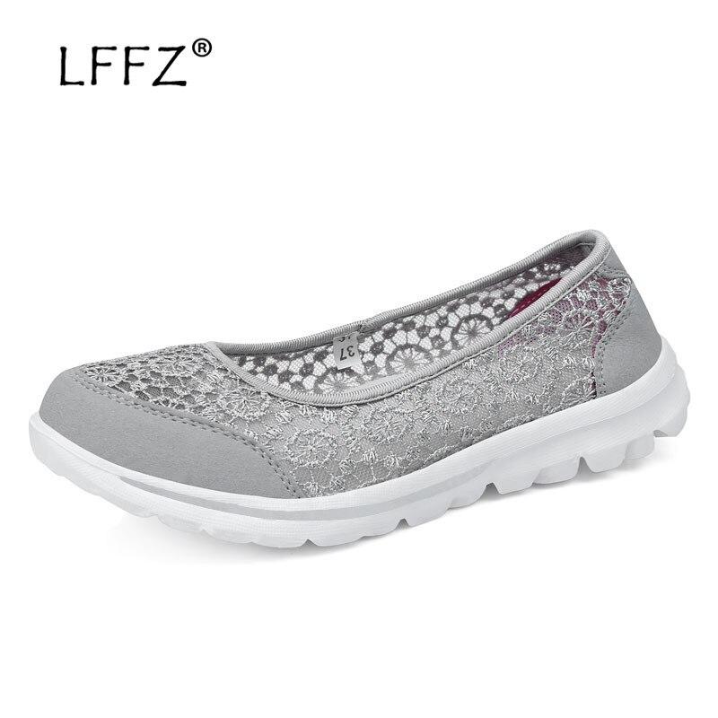 LFFZ New Arrival 2018 Women Casual Shoes Soft Platform Shoes Women Slip on Shallow Flat Shoes Women Large Size Shoes 35-42