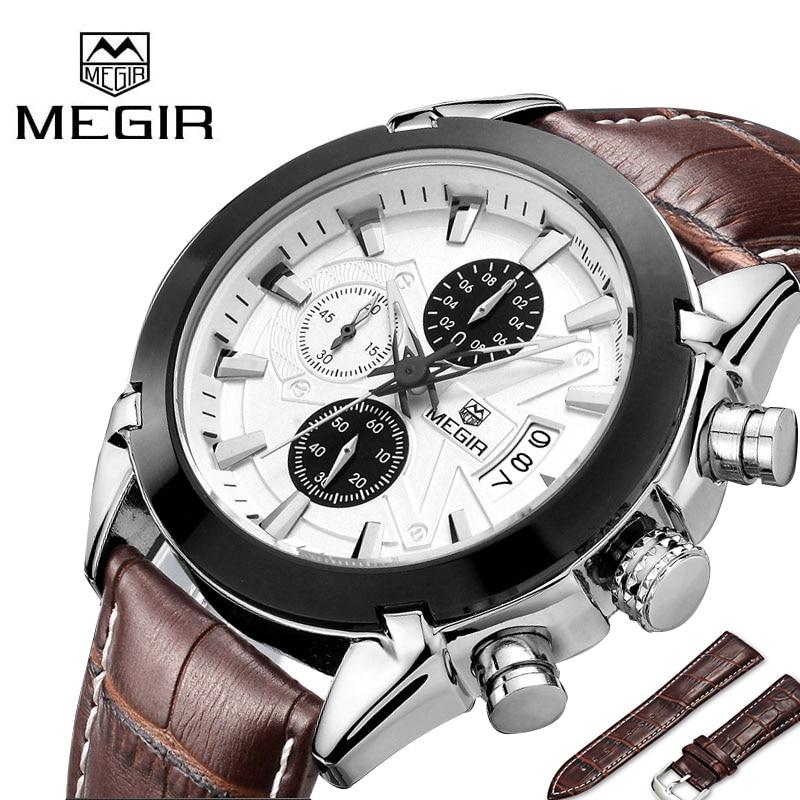ФОТО MEGIR Chronograph Casual Men Watch Luxury Brand Quartz Military Sport Watch Genuine Leather Men's Wristwatch relogio masculino
