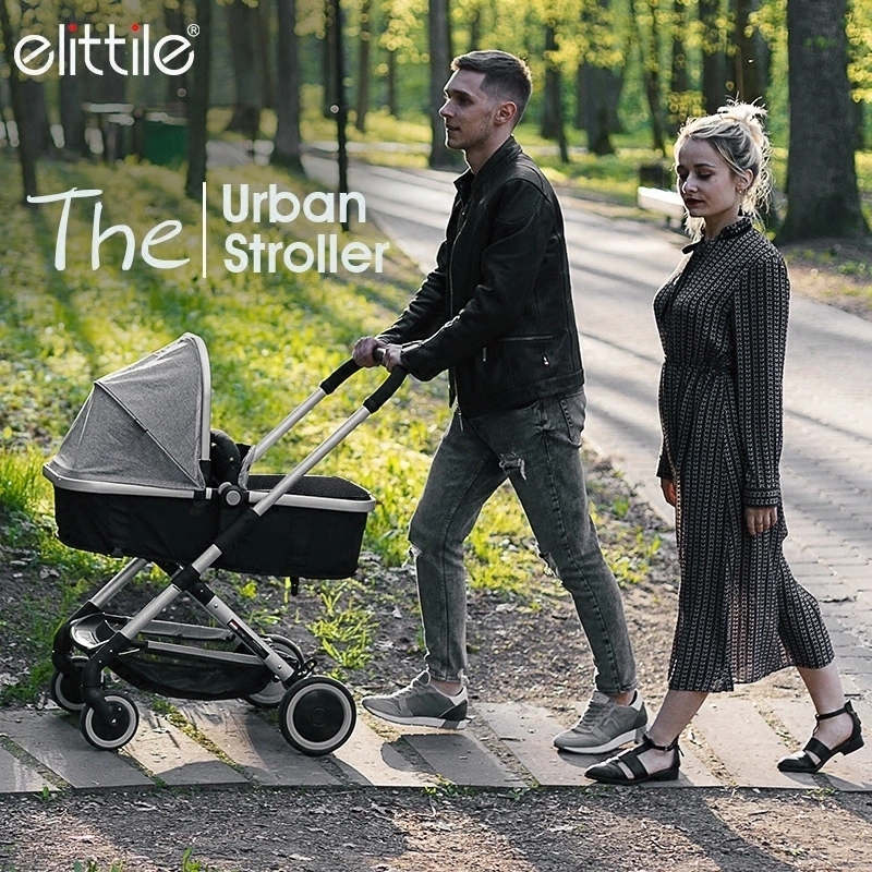 Elittile Portable Folding Baby Stroller 2 in 1 For Newborn Can Sit And Lie Baby Carriage Pram High Landscape Four Wheels Trolley luxury baby stroller high landscape baby carriage for newborn infant sit and lie four wheels