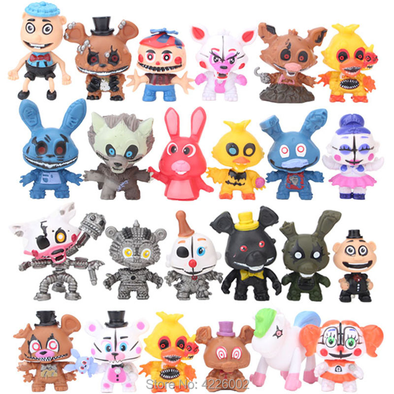 24pcs Five Nights At Freddy's Circus Baby PVC Action Figures FNAF Sister location Freddy Bare Bonnie Foxy Chica Bear Figurines 5 pcs pack 5 5 inch five nights at freddy s pvc action figure toy foxy gold freddy chica freddy with 2 color led lights