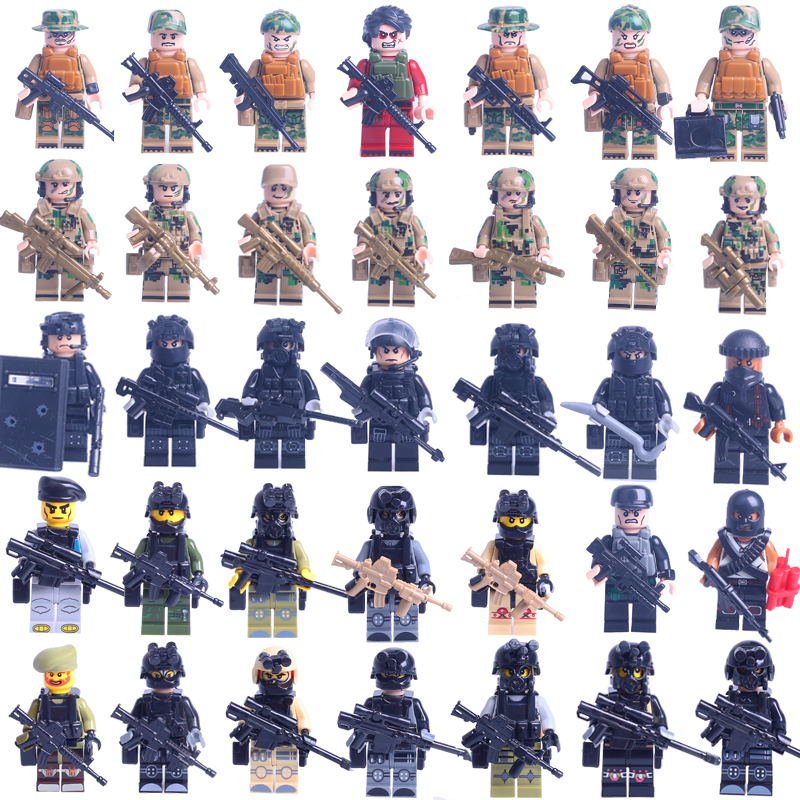 legoinglys military 35pz City Police SWAT Team Army Soldiers With Weapons WW2 Building Blocks Toys for children gift 6pcs swat military army riot police officer special weapons minifigures building blocks bricks kid baby boy toys
