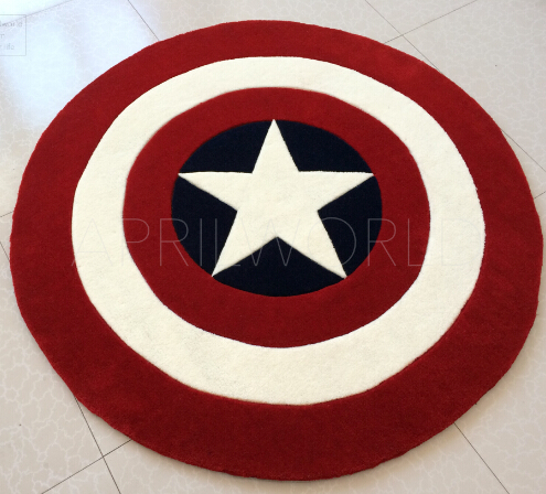 Customize New Captain America Shield carpet England round carpet mats bedroom living room coffee table bedside blanket pad