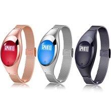 Для женщин Мода Z18 Смарт часы Браслет smartwatch с Приборы для измерения артериального давления сердечного ритма Мониторы Фитнес трекер для IOS Android