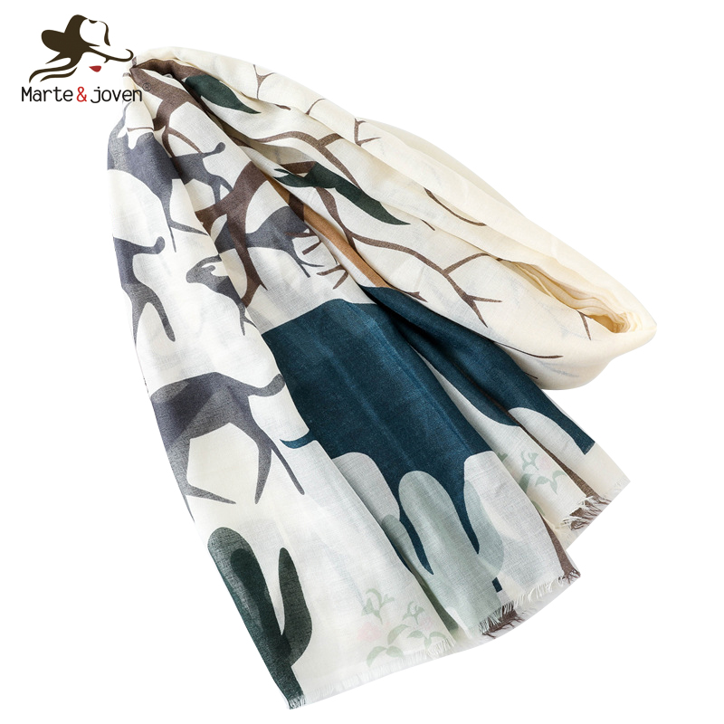 Marte&Joven Fashion Elephant Giraffe Tree Print Women Scarf 2019 Spring Autumn Oversize Shawl Wrap For Ladies