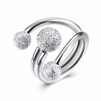 100 Sterling Silver Ring Romantic Wedding Ladies Classic 925 Silver Fashion Jewelry Frosted Beads Open To