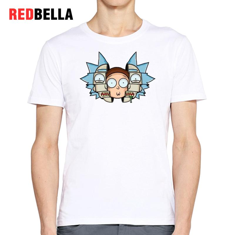 REDBELLA 2017 Design Rick And Morty T Shirt Men Cotton White Funny Spoof Tee Daily Hipster Unique Graphics Cartoon Tshirt Tumblr