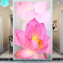 PSHINY 5D DIY Diamond embroidery Pink Lotus flower pictures full mosaic kit Square rhinestone painting cross stich