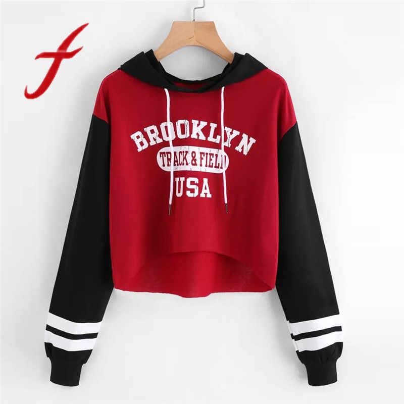 2964c5c8597 Feitong Womens Long Sleeve Crop Tops Hoodies Sweatshirt Causal Long Sleeve  Letter Printed Pullover Hooded Tops