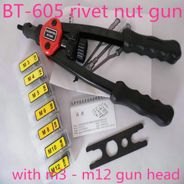 13 Hand Riveter Rivet Gun, Riveting Tools With Nut Setting System M3-M12 BT605 hot sales high quality hand riveter pull rivet nut riveting tools with one m8 die free shipping bt 606