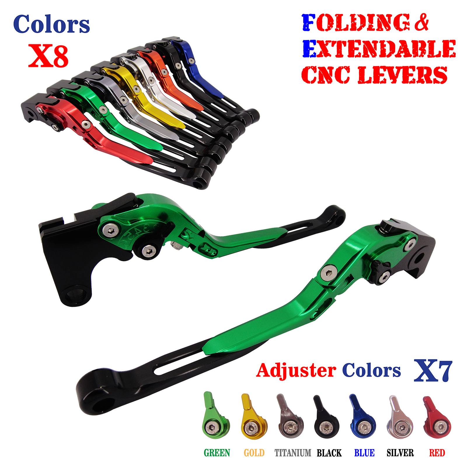 For Kawasaki ZX-6R/ZX636 ZX-10R Z750R Z1000 2007-2015 Adjustable  CNC Folding Extendable Brake Clutch Levers kawasaki zx 6r 636 zx 10r 12r 9r gtr1400 изменение рука дроссельной ручки резиновый рукав