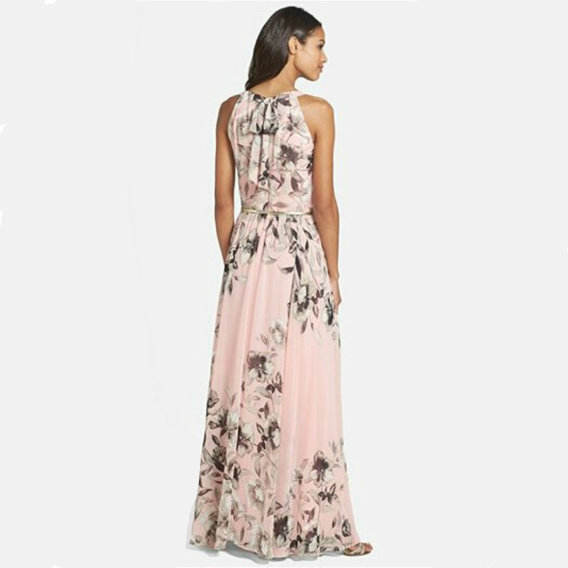 New Ladies Summer Long Maxi Evening Party Dress Beach Dresses Sundress Size  6 20 vogue Floral O Neck Casual dress-in Dresses from Women s Clothing on  ... 0f5b275fb399