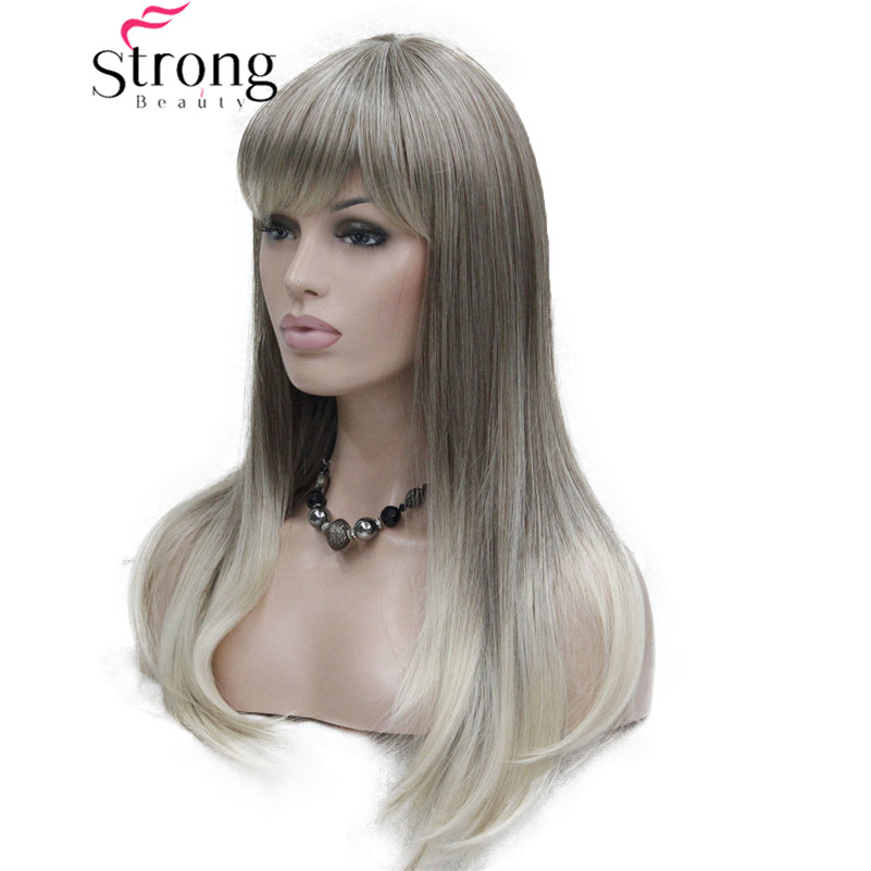 StrongBeauty Long Straight Ombre Blonde With Bangs Synthetic Wig Women's Hair Wigs