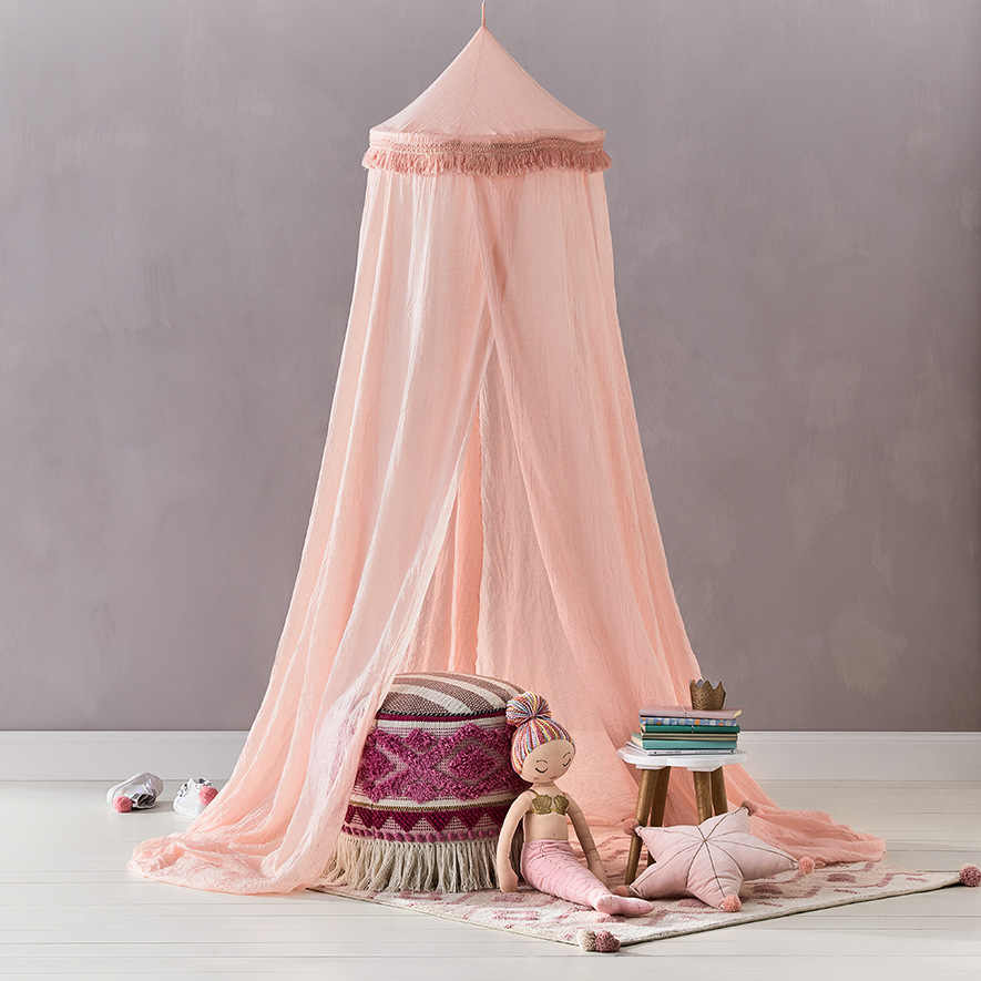 Baby Canopy Bed Kids Girls Room Decoration Summer Tassels Baby Hung Dome Mosquito Net Princess Canopy Bed Curtains Baldachin