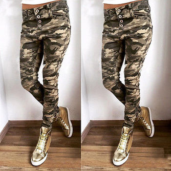Women Camouflage Pants Casual Army Green Camo Sweatpant Fashion Camo Pants High Waist Loose Ladies Trousers