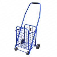 Shopping Cart Portable Folding Climbing Stairs To Buy Food Four Rounds Trolley Wheeled Metal Luggage Trailer Storage Basket