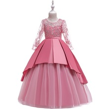цена на Girls Princess Wedding Party Dresses Lace Long sleeve Dress Big girl Deluxe Gown Costumes Birthday Party Dress Children Cothing