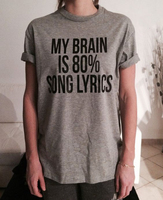 My Brain Is 80 Song Lyrics T Shirts Womens Summer Fashion Letters T Shirt Casual Cotton