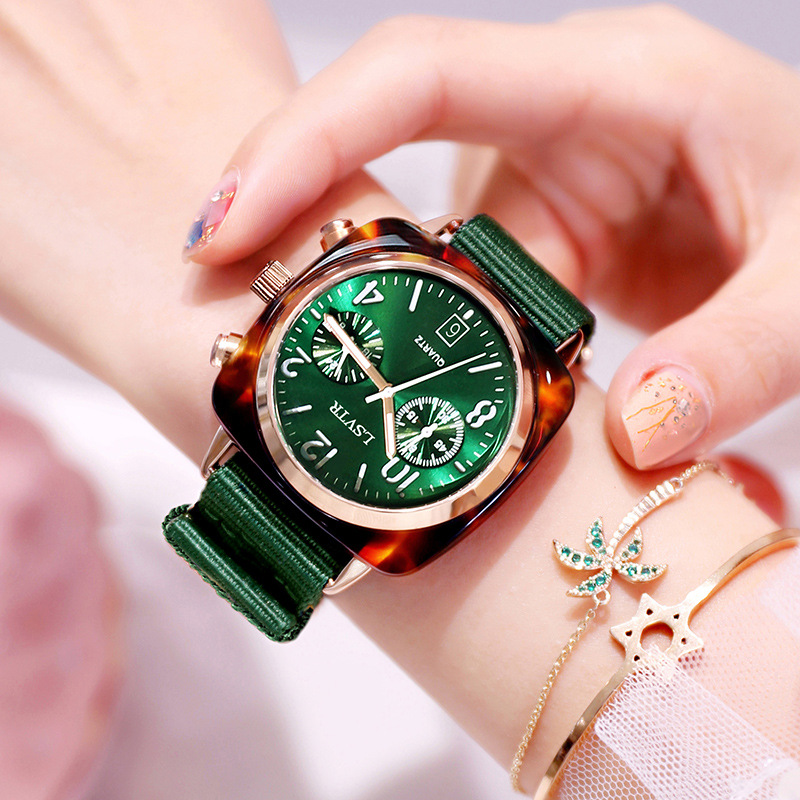 Square Women Dress Watches Luxury Rose Gold Metal Case Quartz Watch Fashion Casual Green Nylon Strap Female Clock reloj mujer(China)