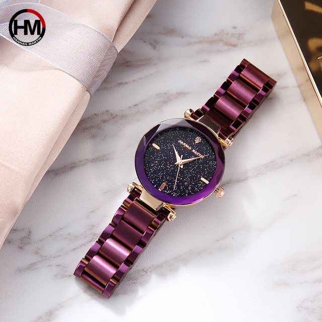 Japan Movement Night Flash Starry Sky Dial Stainless Steel Waterproof Creative Women Watches Diamond Elegant Ladies Quartz-Watch