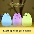 USB Recargable de Silicona de Colores Lindo Gato Luz de La Noche del Juguete de Los Niños Regalo de Cumpleaños de La Lámpara de Mesita de noche Dormitorio Para Su Amigo