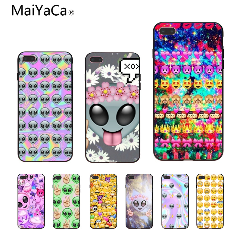 Adroit Maiyaca Emoji Alien Novelty Phone Case Cover For Apple Iphone 5 5s 5c Se And 6 6s 7 7plus 8 8plus 10 X Phome Case To Be Renowned Both At Home And Abroad For Exquisite Workmanship Half-wrapped Case Skillful Knitting And Elegant Design Phone Bags & Cases