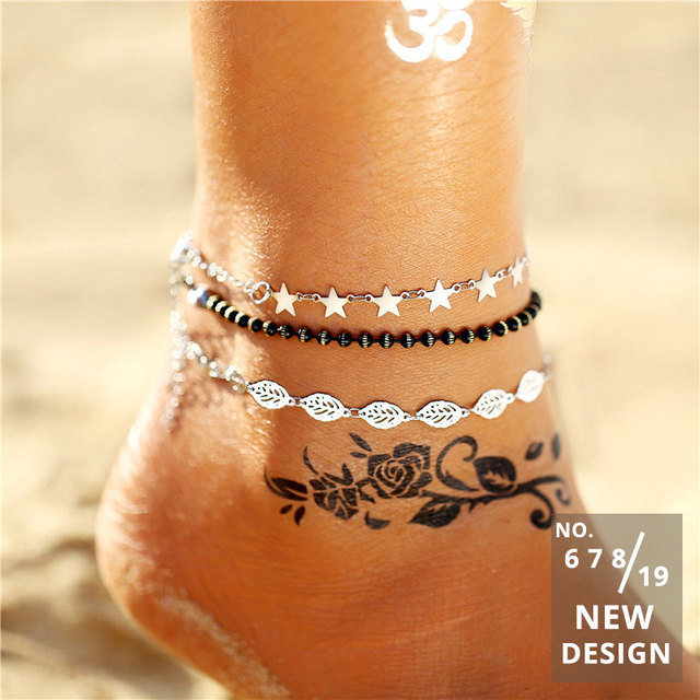 Vintage Gold Silver Color Multilayer Anklets For Women Bohemian Moon Map Beads Leaves Anklet 3