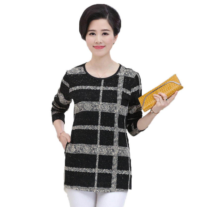 Middle Aged Woman Plaid Blouse Red Black Tops For Mother O Neck Long Sleeve Blouses With