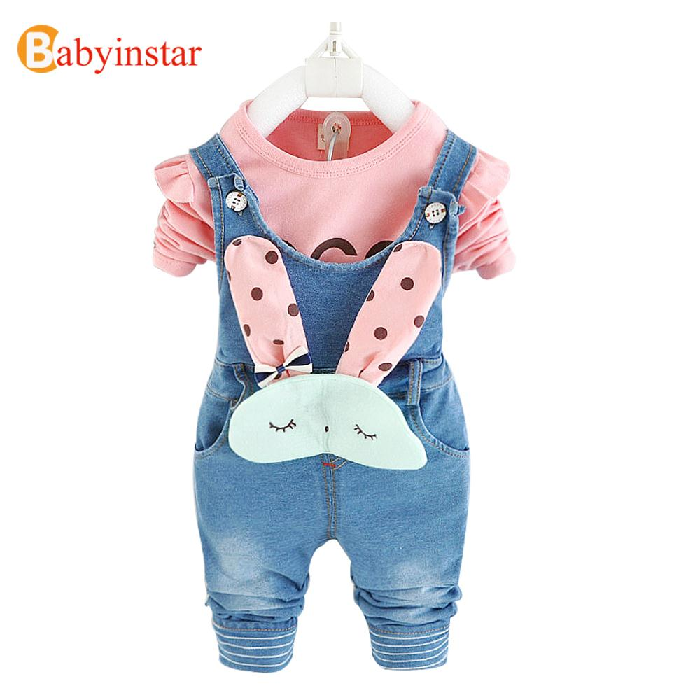 2017 Baby Girls Clothes Set Spring Autumn t shirts + Cute Cartoon Overalls Girl Suit 2pcs Kids Costume Children Set cotton cartoon t shirts