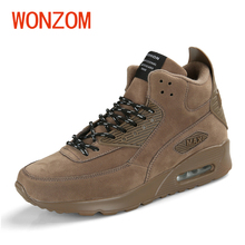 WONZOM Autumn Winter Fashion High Top Casual Shoes Men 2018 New Arrival Leather Footwear For Man Sapatos Ankle Boots Size 38-46