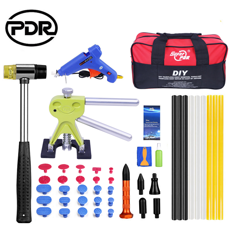 PDR Tools Tool To Remove Dents Auto Repair Tool Set Car Body Repair Kit Dent Puller Kit Lifter Removal Glue Gun EU Hammer Tool pdr toolkit auto repair tool to remove dents car body repair paintless dent repair pulling bridge 12 v glue gun