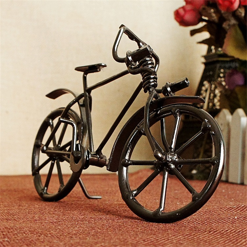 Antique Bike Model Metal Craft Home Decoration VIntage Bicycle Figurine Miniatures Children Birthday toy Gifts Creative Crafts