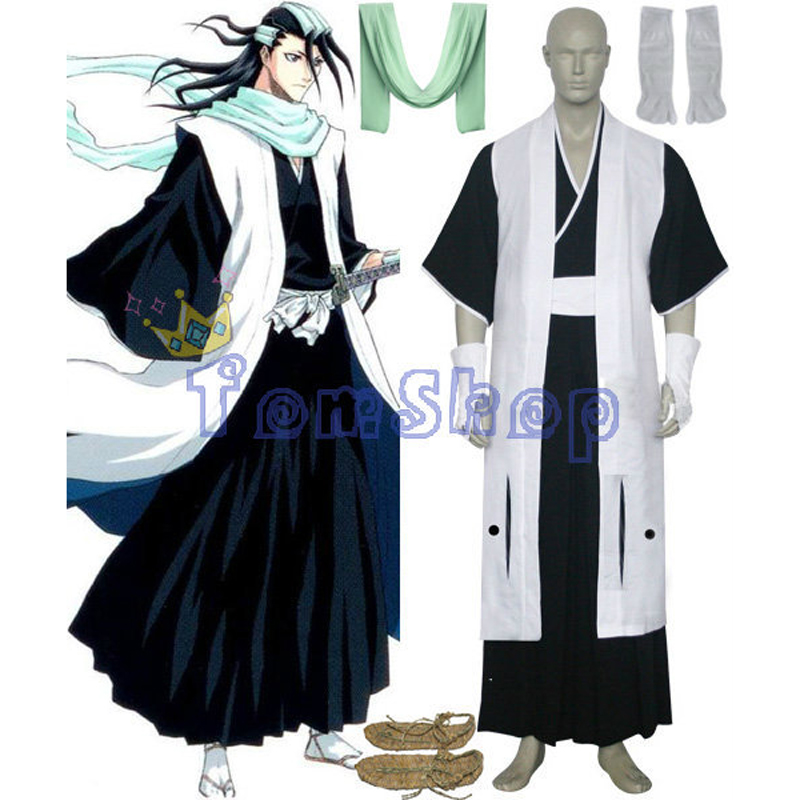 Bleach 6th Division Captain Kuchiki Byakuya Cosplay Kimono Uniform Suit Men