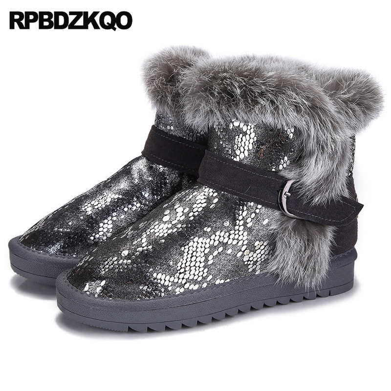 Faux Fur Winter Snow Boots Women Ankle Shoes Silver Glitter Sequin Casual Snake Snakeskin Booties Furry Metal Fashion Female