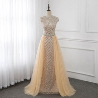 Champagne Cap Sleeve Evening Dresses Formal Evening Gowns O Neck Sleeveless Beading Crystal Pageant Dress YQLNNE