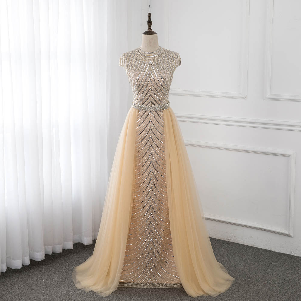 Champagne Cap Sleeve   Evening     Dresses   Formal   Evening   Gowns O-Neck Sleeveless Beading Crystal Pageant   Dress   YQLNNE