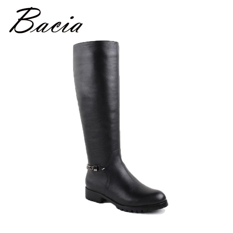 Bacia la rodilla botas altas larga y cálida Piel de lana hecho a mano zapatos de alta calidad pisos negro de invierno de cuero genuino botas de mujer VB026