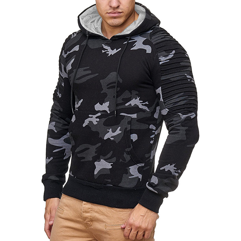 New Mens Camouflage Pleated Long Sleeve pullover fashion Hoodie men casual hoodies male tops