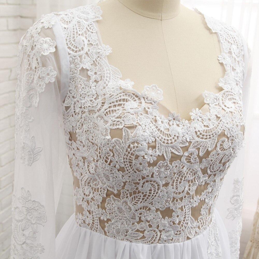 Sexy 2019 A lijn Sweetheart Kapmouwtjes Witte Chiffon Kant Slit Lange Elegante Prom Jurken Prom Gown Avondjurken Avondjurk - 5