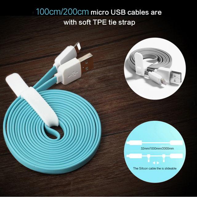 USB Cable for iPhone 8 7 6 6s SE 5s, ROCK Data Sync Flat USB Cable for iPad mini/air/pro for iPhone charger for iPhone X Cable