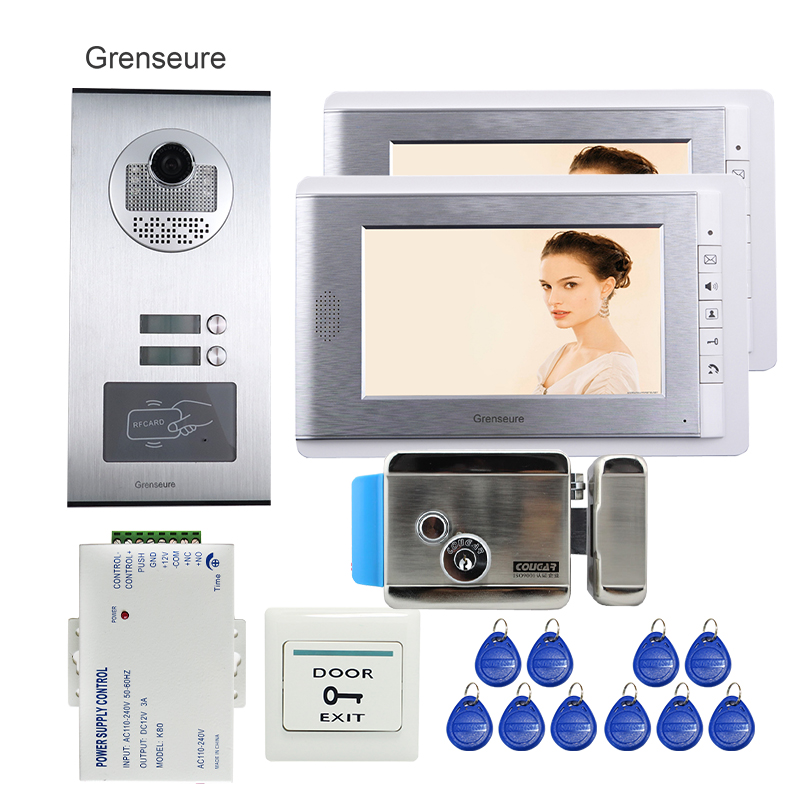 FREE SHIPPING Apartment 7 LCD Video Door Phone Intercom System 2 Monitors + RFID Access Outdoor Camera 2 Buttons Electric Lock my apartment