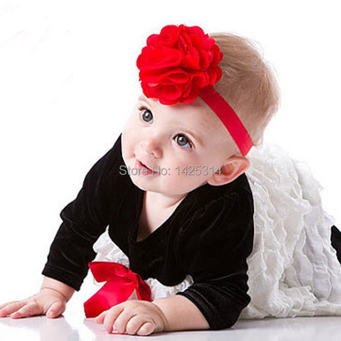 New 12pcs//lot Baby Kid Girls Toddler Satin Flower Headband Hair Accessories Band