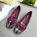 England Style Gingham Women Casual Loafers Spring Autumn Square Toe Bowtie Slip On Flats For Woman Ladies Single Shoes Plus Size