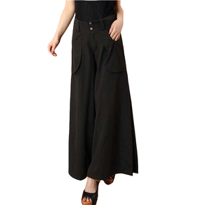 Image 4 - Plus size spring Summer Women solid Wide Leg Loose Dress Pants Female Casual Skirt Trousers Capris Culottes