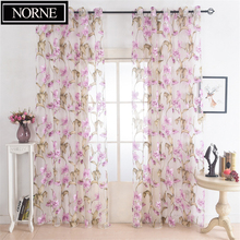 NORNE Floral Pattern Tulle Curtain for Bedroom Window Sheer Curtains for Living Room Kitchen Modern Voile Curtain Blinds Drapes norne hollow star thermal insulated blackout curtains for living room bedroom window curtain blinds stitched with white voile
