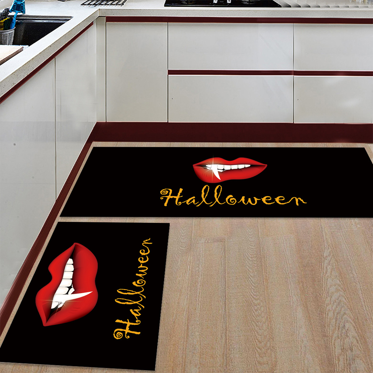 2 pièces cuisine tapis et tapis ensemble moderne Halloween rouge lèvres maison Deocr antidérapant zone coureur paillassons tapis - 2