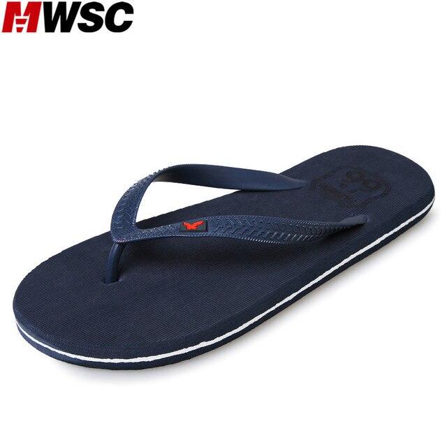 MWSC 2017 Summer New Arrival Male Beach Slipper Shoes Casual Flat with Anti-Slip Flip Flops Fashion Sandal Slippers