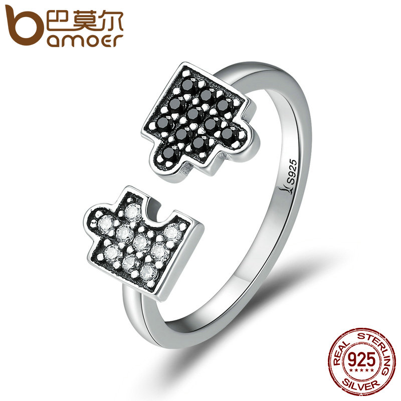 BAMOER Authentic 100 925 Sterling Silver Glamour Puzzle Clear CZ Open Finger font b Rings b