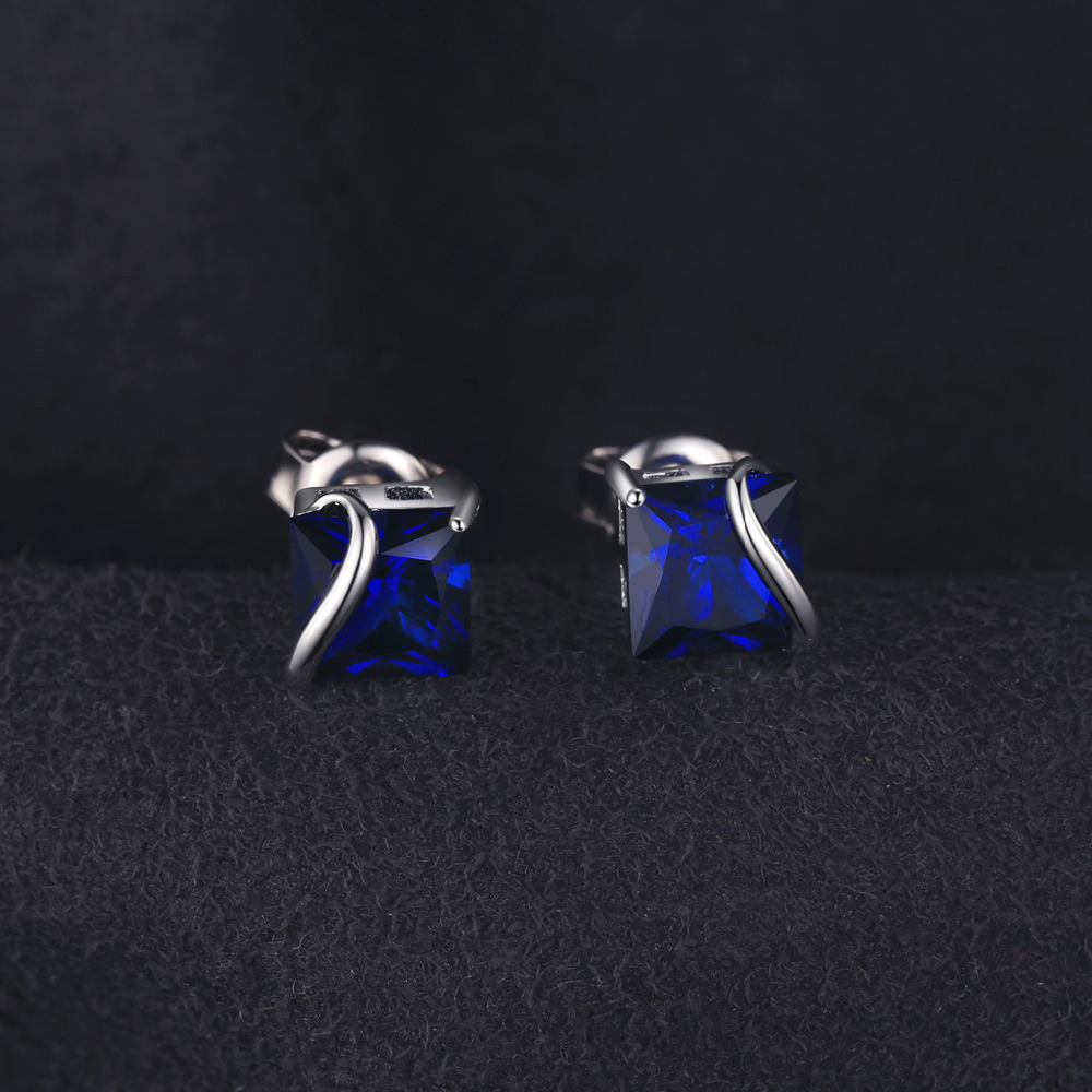 JewelryPalace Classic 2.8ct Ստեղծված Sapphire Stud - Նուրբ զարդեր - Լուսանկար 4