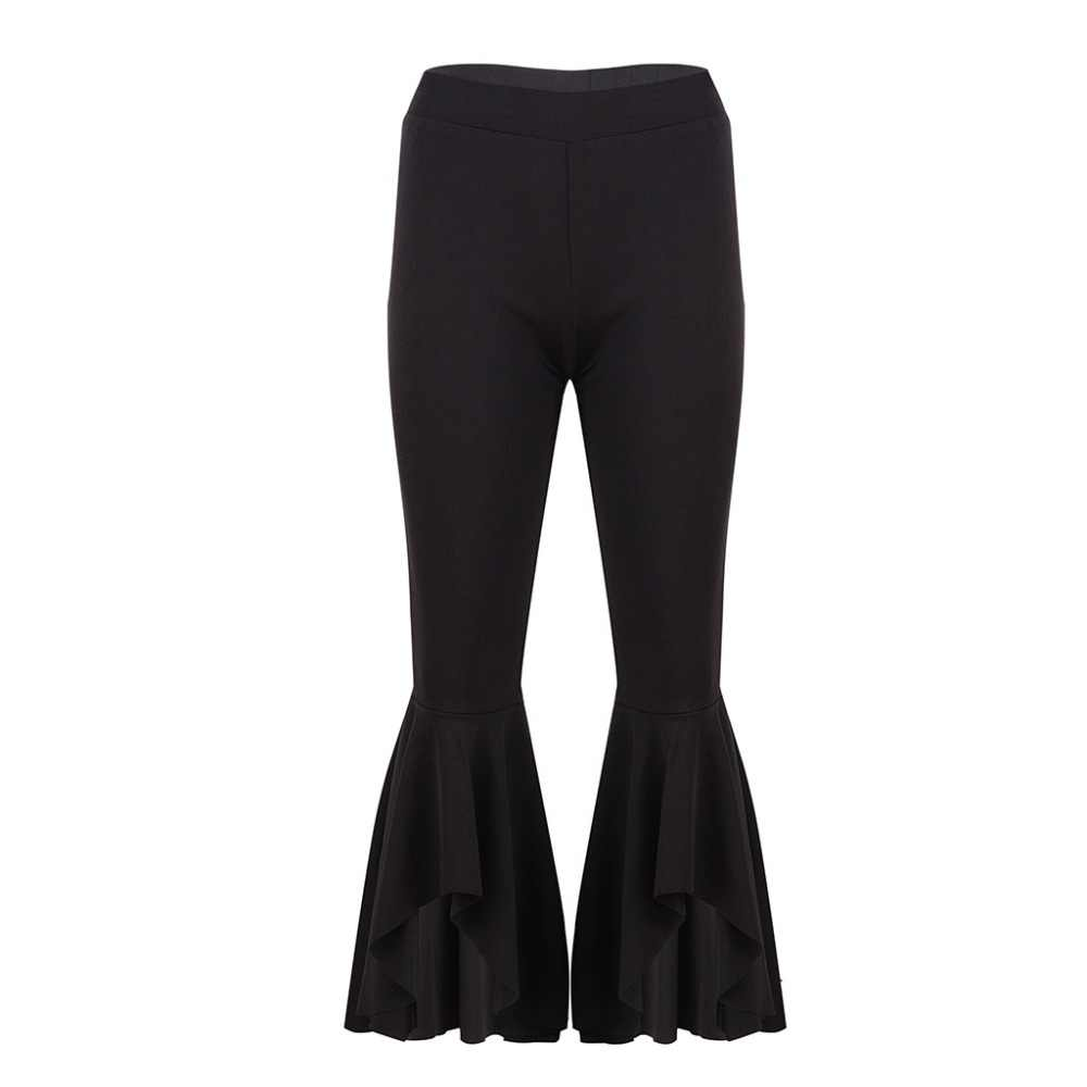 hot-seeling original arrives agreatvarietyofmodels Fashion Asymmetric Frill Hem Ruffle Trousers Women Bottom Flare Pants White  Black High Waist Slim Pants Capris WS9391V