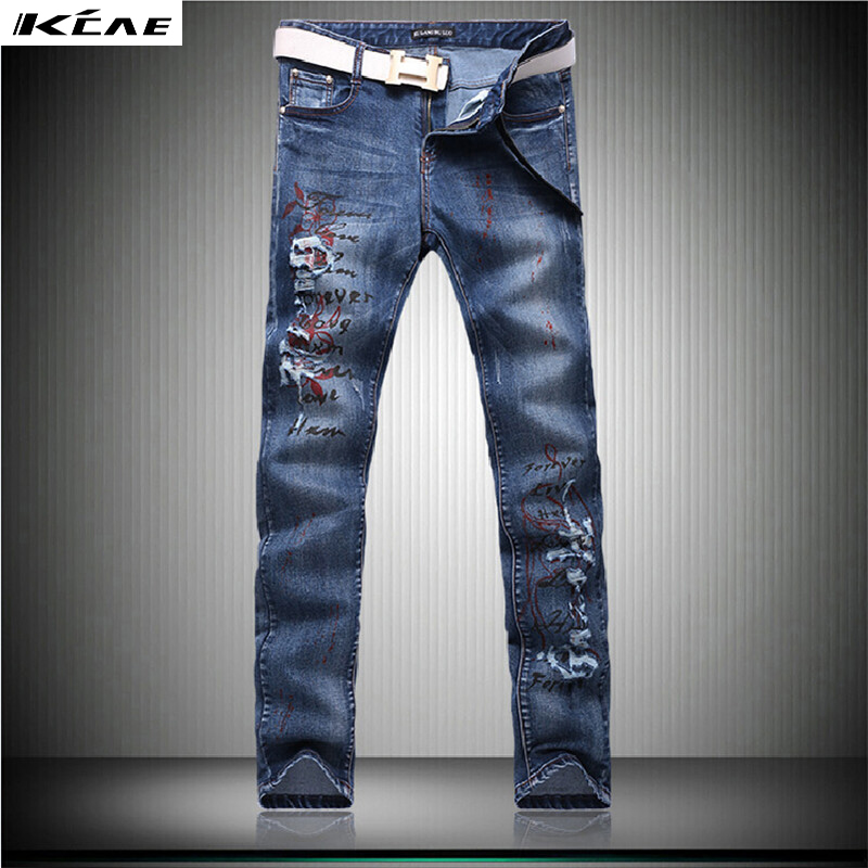 ФОТО 2016 New Arrival Fashion Printed Jeans Men High Quality motorcycle Casual Men's denim Pants hip hop rock Trousers